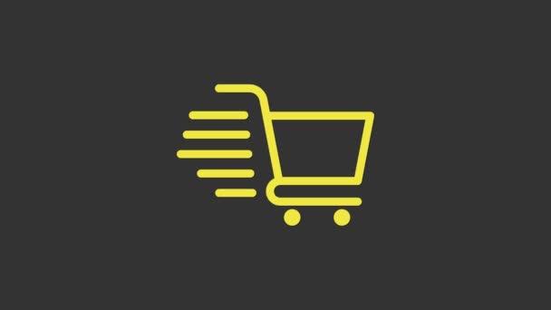 Ikona žlutého nákupního košíku izolovaná na šedém pozadí. Online nákupní koncept. Podpis doručovací služby. Symbol supermarketu. Grafická animace pohybu videa 4K