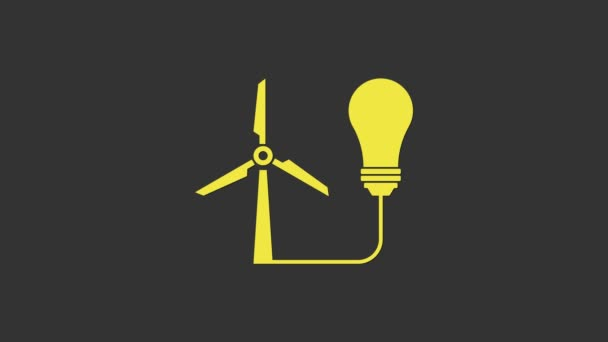 Yellow Light bulb with wind turbine as idea of eco friendly source of energy icon isolated on grey background. Alternative energy concept. 4K Video motion graphic animation