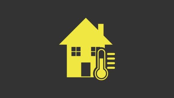 Žlutý dům teplota ikona izolované na šedém pozadí. Ikona teploměru. Grafická animace pohybu videa 4K