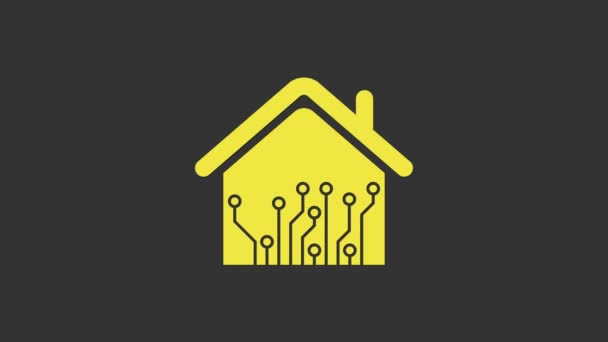 Yellow Smart home icon isolated on grey background. Remote control. 4K Video motion graphic animation