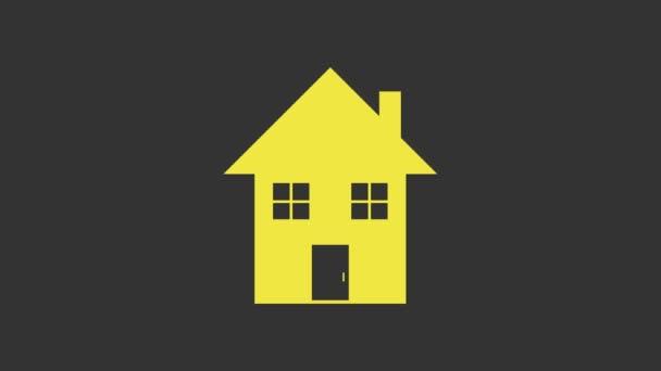Gelbes Haus Symbol isoliert auf grauem Hintergrund. Heimatsymbol. 4K Video Motion Grafik Animation