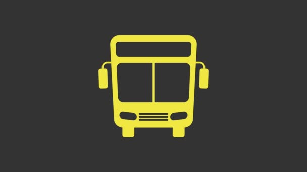 Yellow Bus icon isolated on grey background. Transportation concept. Bus tour transport sign. Tourism or public vehicle symbol. 4K Video motion graphic animation