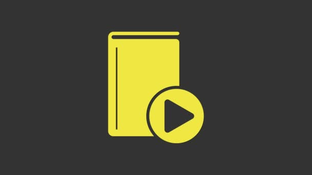 Yellow Audio book icon isolated on grey background. Play button and book. Audio guide sign. Online learning concept. 4K Video motion graphic animation