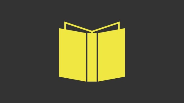 Yellow Open book icon isolated on grey background. 4K Video motion graphic animation