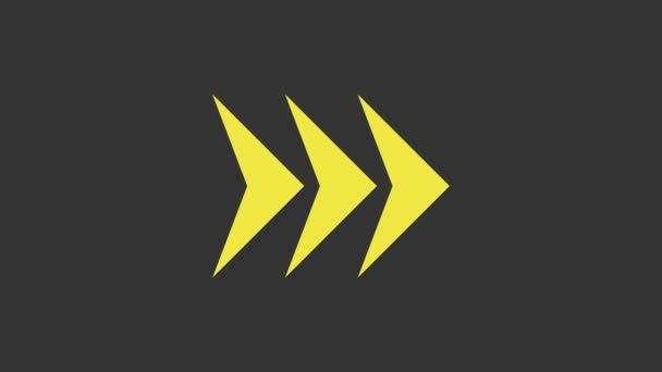 Yellow Arrow icon isolated on grey background. Direction Arrowhead symbol. Navigation pointer sign. 4K Video motion graphic animation