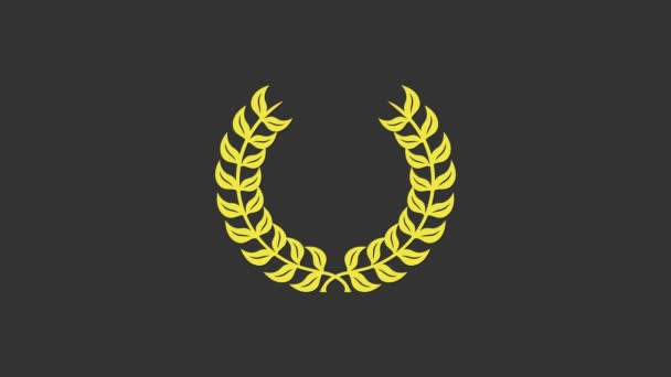 Yellow Laurel wreath icon isolated on grey background. Triumph symbol. 4K Video motion graphic animation