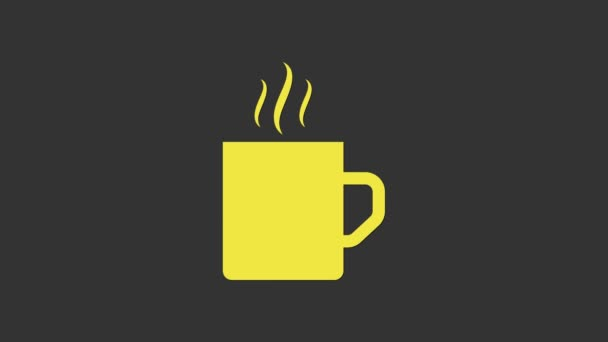 Yellow Coffee cup icon isolated on grey background. Tea cup. Hot drink coffee. 4K Video motion graphic animation