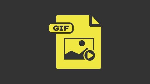 Žlutý dokument GIF. Stáhnout ikonu tlačítka gif izolované na šedém pozadí. Symbol souboru GIF. Grafická animace pohybu videa 4K