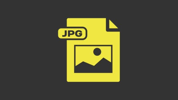Žlutý dokument JPG. Stáhnout ikonu tlačítka obrázku izolované na šedém pozadí. Symbol souboru JPG. Grafická animace pohybu videa 4K
