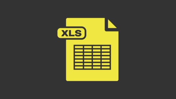 Yellow XLS file document. Download xls button icon isolated on grey background. Excel file symbol. 4K Video motion graphic animation