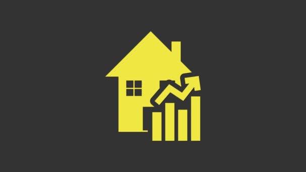 Gelb Steigende Wohnkosten Ikone isoliert auf grauem Hintergrund. Steigende Immobilienpreise. Die Zahl der Wohnungseinbrüche steigt. 4K Video Motion Grafik Animation
