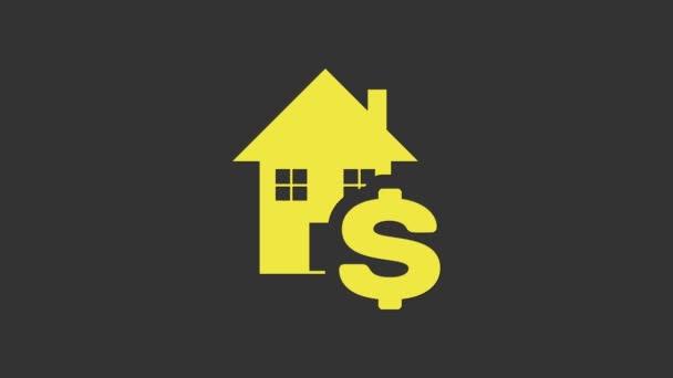 Gri arkaplanda dolar sembolü olan sarı ev. Ev ve para. Emlak konsepti. 4K Video hareketli grafik canlandırması