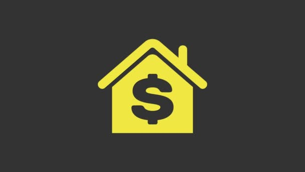 Yellow House with dollar symbol icon isolated on grey background. Home and money. Real estate concept. 4K Video motion graphic animation