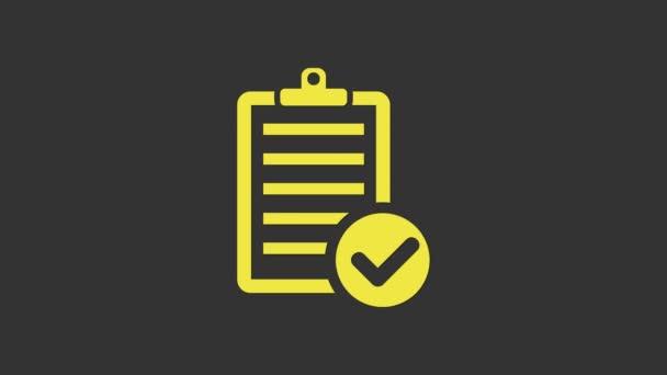 Gelbe Überprüfung der Lieferlisten-Zwischenablage und des Stift-Symbols auf grauem Hintergrund. 4K Video Motion Grafik Animation