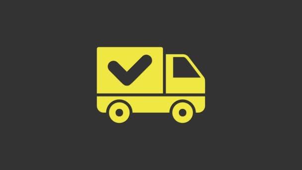 Gelber Lieferwagen mit Häkchen-Symbol auf grauem Hintergrund. 4K Video Motion Grafik Animation