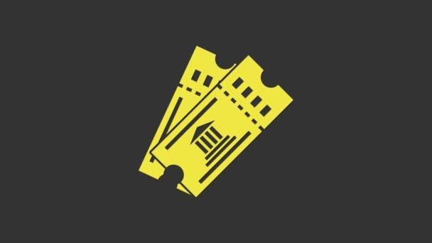 Sárga Múzeum jegy ikon elszigetelt szürke háttér. Történelem múzeum jegy kupon esemény belépő kiállítás kirándulás. 4K Videó mozgás grafikus animáció