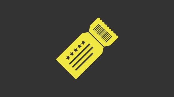Sárga jegy ikon elszigetelt szürke alapon. 4K Videó mozgás grafikus animáció