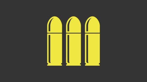 Yellow Bullet Symbol isoliert auf grauem Hintergrund. 4K Video Motion Grafik Animation