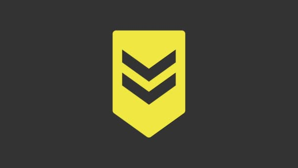 Ikona Žlutý symbol izolovaný na šedém pozadí. Vojenský odznak. Grafická animace pohybu videa 4K