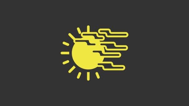 Sárga köd és a nap ikon elszigetelt szürke alapon. 4K Videó mozgás grafikus animáció