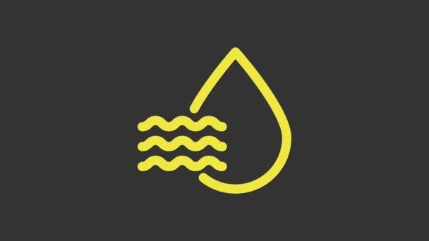 Žlutá Vodní kapky ikona izolované na šedém pozadí. Analýza vlhkosti. Grafická animace pohybu videa 4K