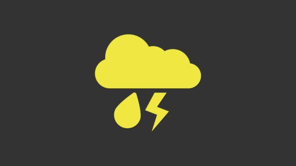 Gelbe Wolke mit Regen und Blitzsymbol auf grauem Hintergrund. Regenwolken Niederschlag mit Regentropfen. Wettersymbol des Sturms. 4K Video Motion Grafik Animation