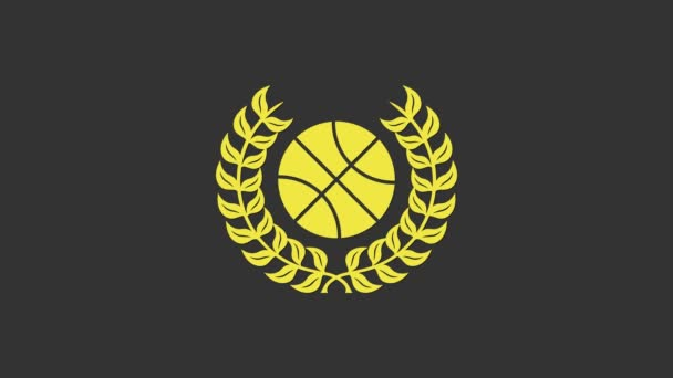 Yellow Award with basketball ball icon isolated on grey background. Laurel wreath. Winner trophy. Championship or competition trophy. 4K Video motion graphic animation