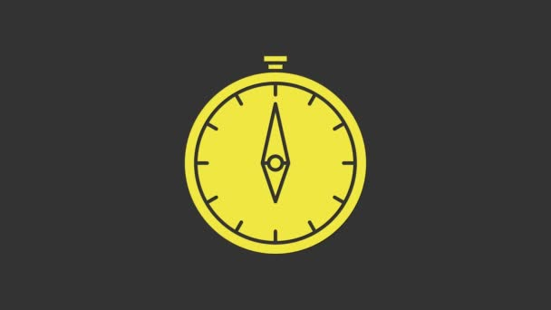 Yellow Compass icon isolated on grey background. Windrose navigation symbol. Wind rose sign. 4K Video motion graphic animation