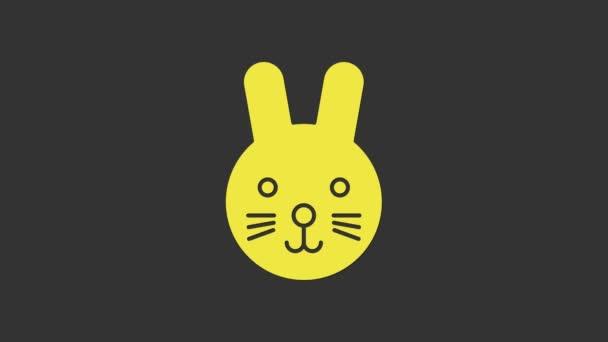 Yellow Rabbit Sternzeichen Symbol isoliert auf grauem Hintergrund. Astrologische Horoskopsammlung. 4K Video Motion Grafik Animation