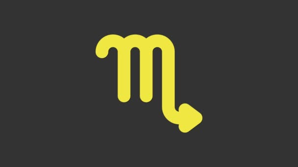 Yellow Scorpio zodiac sign icon isolated on grey background. Astrological horoscope collection. 4K Video motion graphic animation