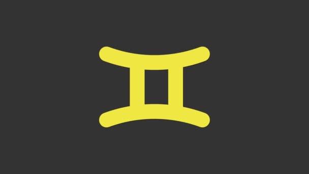 Gelbe Zwillinge Tierkreiszeichen Symbol isoliert auf grauem Hintergrund. Astrologische Horoskopsammlung. 4K Video Motion Grafik Animation