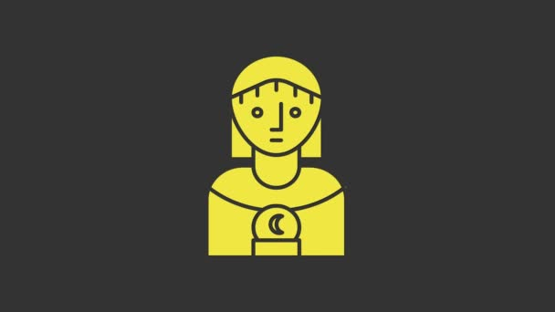 Žlutá Astrologie žena ikona izolované na šedém pozadí. Grafická animace pohybu videa 4K