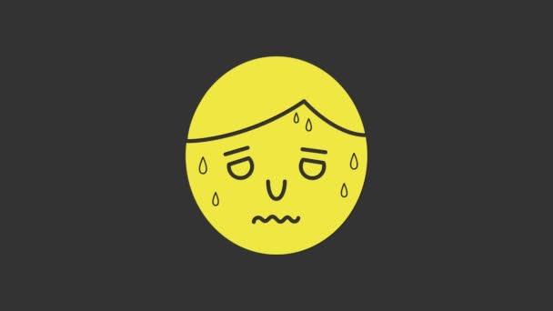 Žlutý muž s nadměrným pocením ikony izolované na šedém pozadí. Grafická animace pohybu videa 4K
