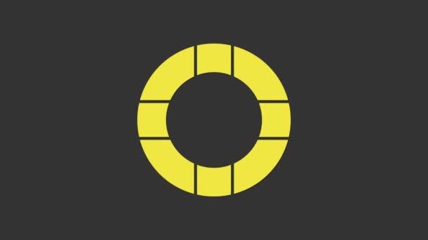 Gelbes Rettungsring-Symbol isoliert auf grauem Hintergrund. Rettungsring-Symbol. 4K Video Motion Grafik Animation