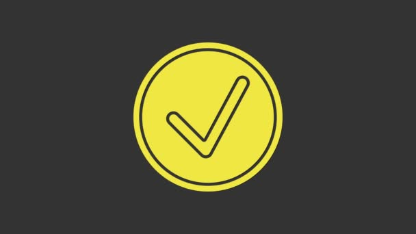 Žlutá Označit v kruhu ikonu izolované na šedém pozadí. Značka s volbou. Značkový symbol. Grafická animace pohybu videa 4K