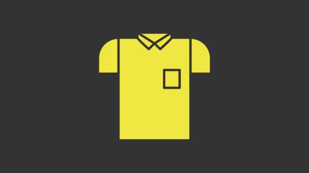 Yellow Polo shirt icon isolated on grey background. 4K Video motion graphic animation