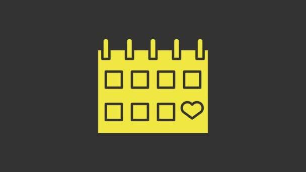 Žlutý kalendář s ikonou srdce izolované na šedém pozadí. Valentýn. Symbol lásky. 14. února. Grafická animace pohybu videa 4K