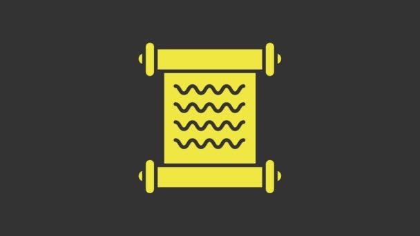 Gelbes Dekret, Papier, Pergament, Scrollsymbol auf grauem Hintergrund isoliert. 4K Video Motion Grafik Animation