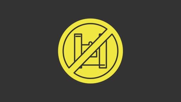 Gelb Sagen Sie Nein zu Plastiktüten Postersymbol isoliert auf grauem Hintergrund. Verbotsschild für Einwegverpackungen aus Zellophan und Polyethylen. 4K Video Motion Grafik Animation