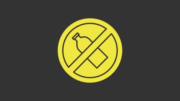 Gelb Kein Plastikflaschensymbol isoliert auf grauem Hintergrund. 4K Video Motion Grafik Animation