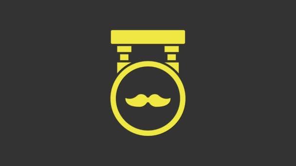 Sárga Barbershop ikon elszigetelt szürke háttér. Fodrászlogó vagy cégtábla. 4K Videó mozgás grafikus animáció