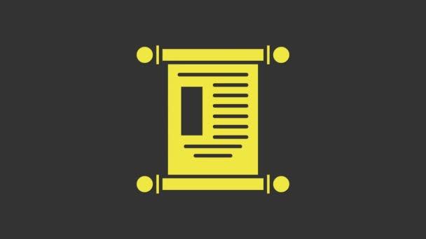 Gelbes Dekret, Papier, Pergament, Scrollsymbol auf grauem Hintergrund isoliert. Chinesische Schriftrolle 4K Video Motion Grafik Animation