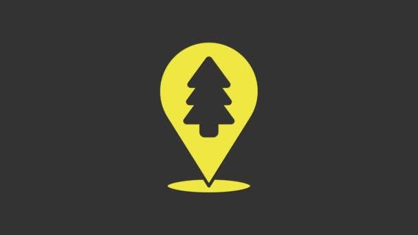 Gelbe Lage des Waldes auf einem Landkartensymbol isoliert auf grauem Hintergrund. 4K Video Motion Grafik Animation