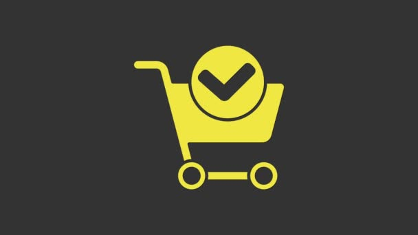 Yellow Shopping cart with check mark icon isolated on grey background. Supermarket basket with approved, confirm, tick, completed. 4K Video motion graphic animation