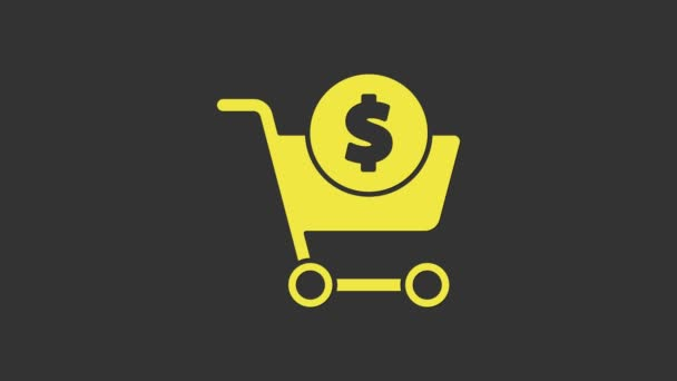 Yellow Shopping cart and dollar symbol icon isolated on grey background. Online buying concept. Delivery service. Supermarket basket. 4K Video motion graphic animation