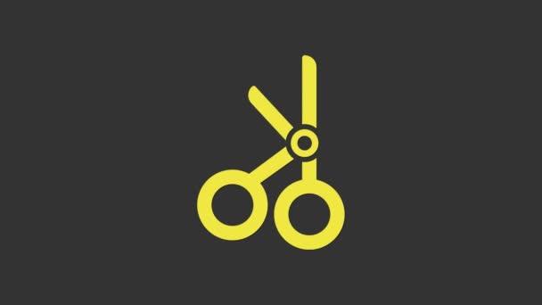 Sárga orvosi olló ikon elszigetelt szürke háttér. 4K Videó mozgás grafikus animáció