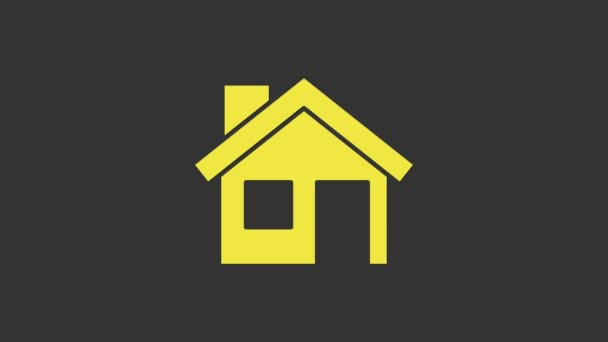 Yellow House icon isolated on grey background. Home symbol. 4K Video motion graphic animation