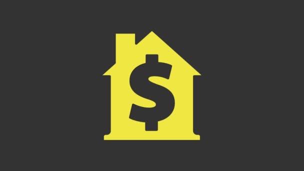 Gelbes Haus mit Dollarsymbol auf grauem Hintergrund. Heimat und Geld. Immobilienkonzept. 4K Video Motion Grafik Animation
