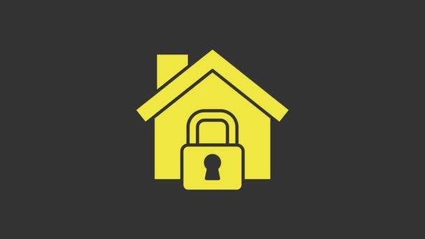 Yellow House under protection icon isolated on grey background. Home and lock. Protection, safety, security, protect, defense concept. 4K Video motion graphic animation