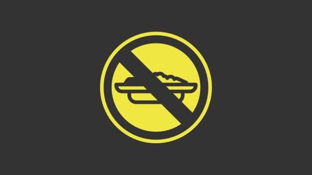 Yellow Food kein Diätsymbol isoliert auf grauem Hintergrund. Den Hunger heilen. 4K Video Motion Grafik Animation